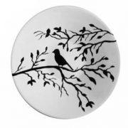بشقاب سفالی طرح پرنده و درخت سیاه و سفید